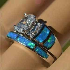 Blueish silver 2 pc set ring